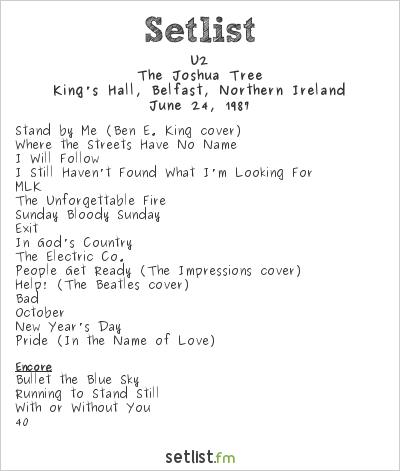 U2 Set List June 87