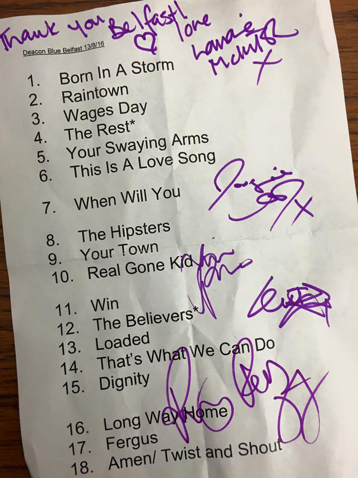 Deacon Blue feile Set List