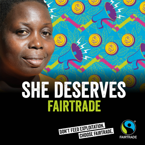She Deserves Fairtrade - Blue - Fairtrade Fortnight 2019