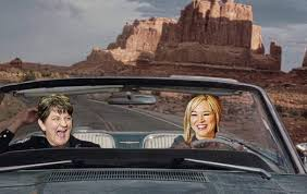 Michelle and Arlene in cars