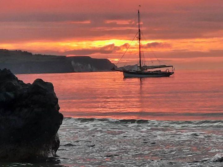 Janice boat  rock  sunset